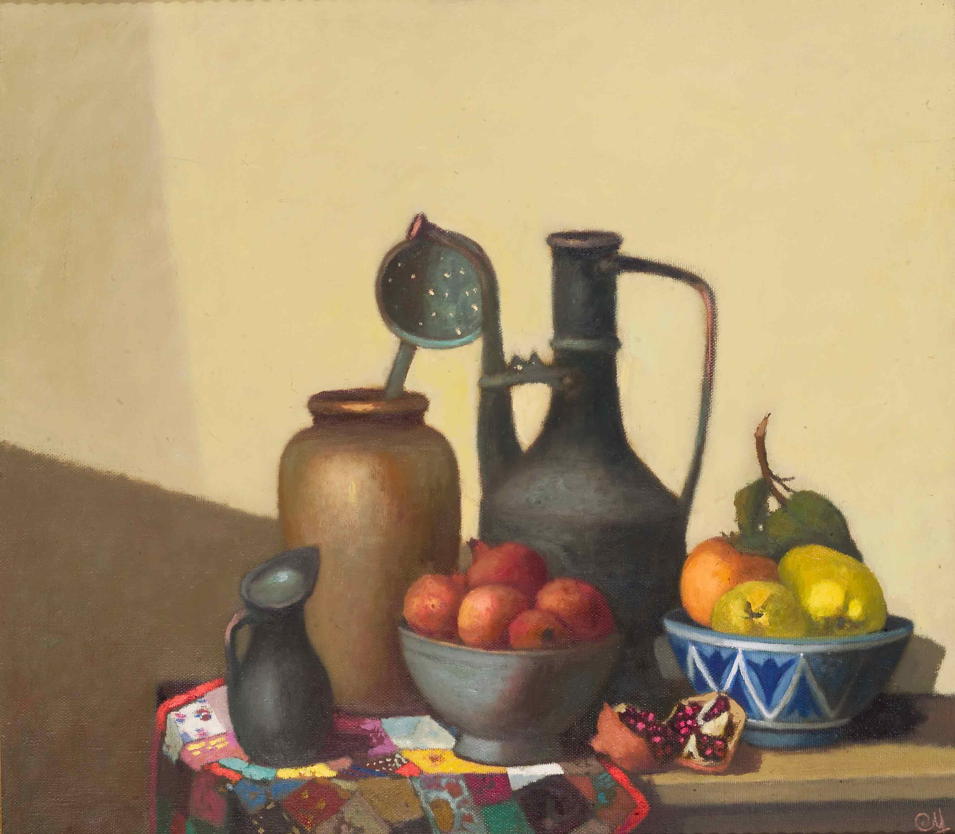 Still life on a yellow background