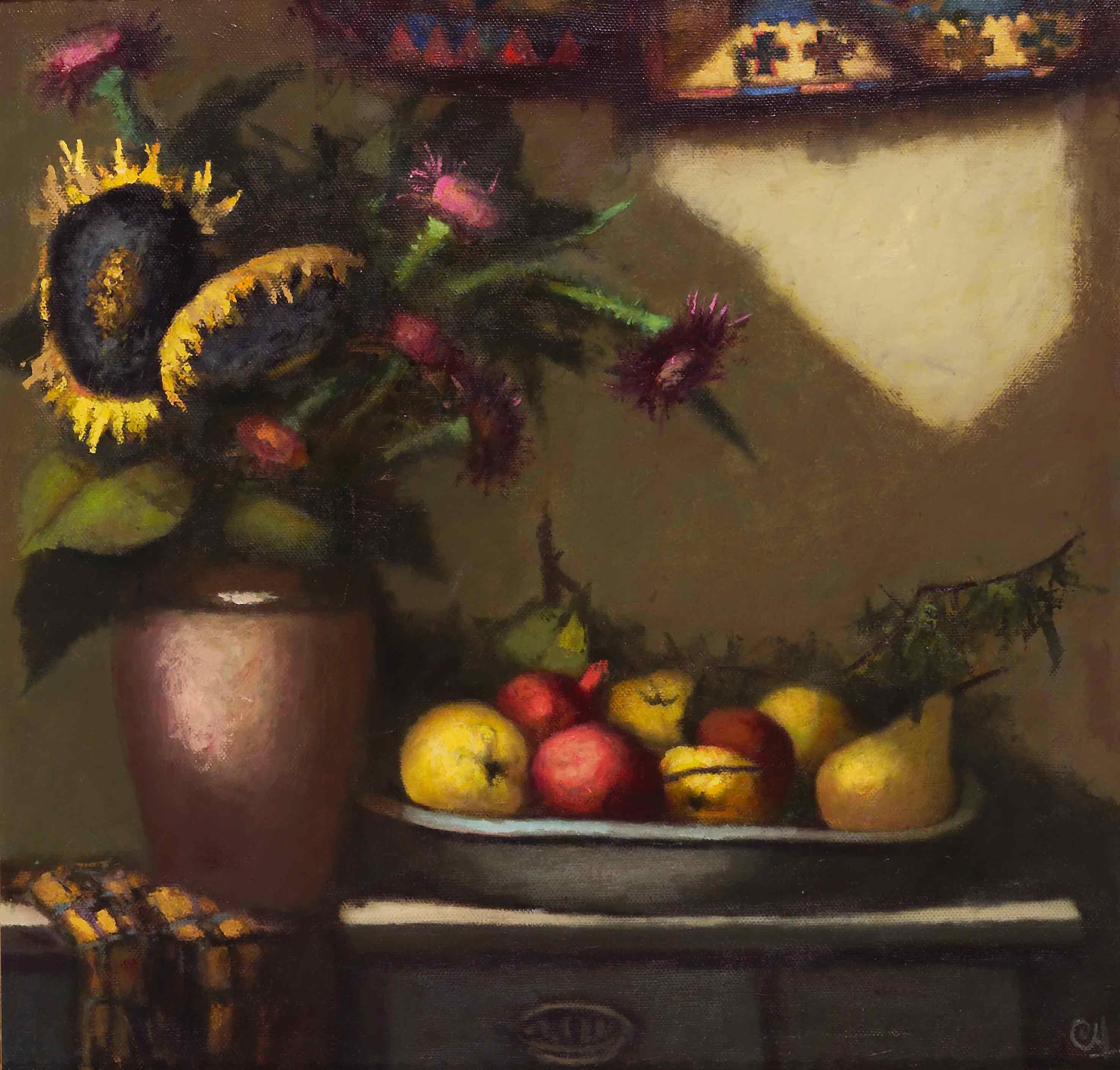 Подсолнухи и фрукты